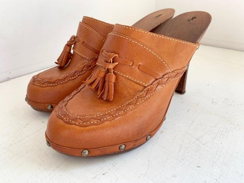 Vintage leather mules spiked heels 9M tassel