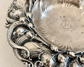 Vintage CD Peacock Sterling Silver detailed organic design 1890's 6194