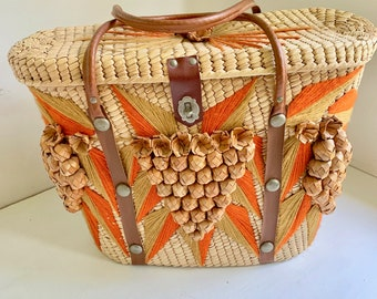 Vintage straw bag with handles and grapes for travel beach or knitting