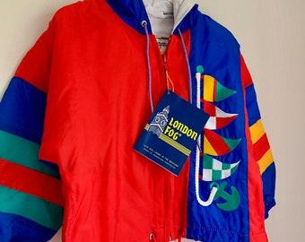 Vintage NOS toddler wind breaker London Fog 2T red blue green sailor coat