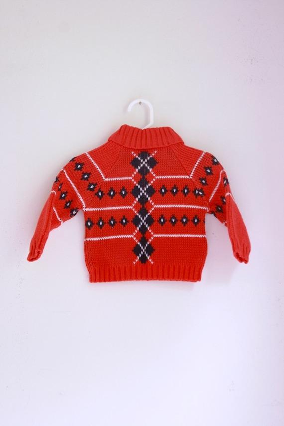 64e746cb2450 Vintage baby sweater argyle red white and blue holiday outfit