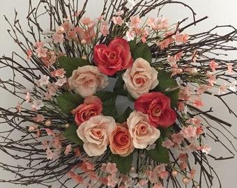 Brand New Coral Rose Sunburst Twig Wreath