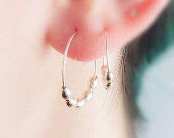 Beaded Hoop Earrings • Delicate Oval Beads • Modern Style • Bridal Jewelry • Bridesmaid Gift • Dainty Hoops • Delicate Earrings