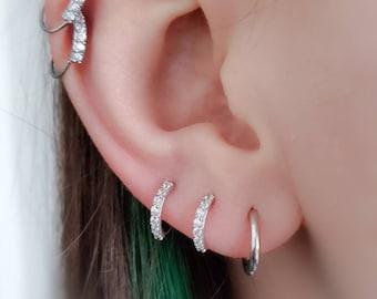 7 Stone Sparkle Hoops • CZ Pave Hoops • Modern Hoop Earrings • Tiny Sparkle Hoops • Delicate Earrings • Tragus Hoops • Cartilage Hoops