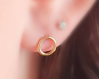 Dainty Open Circle Studs • Petite Gold  Studs • Circle Earring Posts • Simple Minimal Earrings • Silver Circles • Modern Style