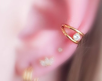 Double Clicker Hoop with Diamond CZ Accent • 16 Gauge Hinged Segment Hoop • Multiple Piercings • Ear Stack • Gold Double Hoop • Cartilage