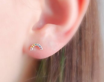 Super Cute Tiny Rainbow Studs • Little Rainbow Earrings • Sterling Multi Color Stone Earrings • Happy Little Studs • Kawaii Style
