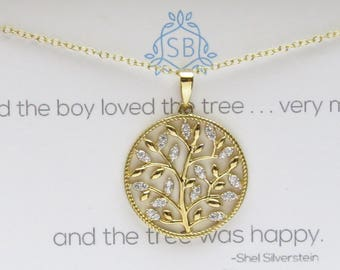 Gift for Mom • Sparkling Tree Pendant • Tree of Life • Family jewelry • Family Tree Necklace • Shel Silverstein • The Giving Tree