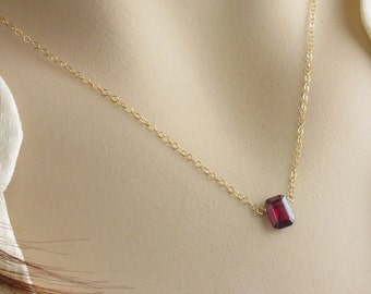 Emerald Cut Garnet • January Birthday Gift • Garnet Necklace • Garnet Birthstone • Red Faceted Rectangle • Deep Red Garnet Pendant