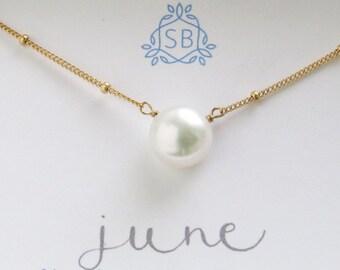 Juni Birthday Gift • Perlencollier • Satelliten Kette • weiß Taste Perle • Juni Birthstone • runde Perle Tropfen • Minimal Schmuck