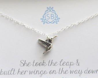 Motivational Gift • Hummingbird Necklace • Tiny Bird Charm • Soaring Bird Necklace • Inspirational Jewelry • Graduation Gift • Hummingbird