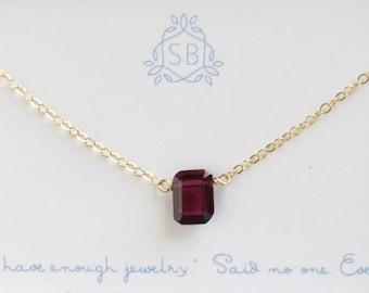 Garnet Necklace • Emerald Cut Garnet • January Birthday Gift • Garnet Birthstone • Red Faceted Rectangle • Deep Red Garnet Pendant