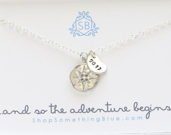 Graduation Gift • Compass Rose Necklace • Starburst Charm • Graduation Year • North Star • 2018 Graduate • Inspiration Necklace