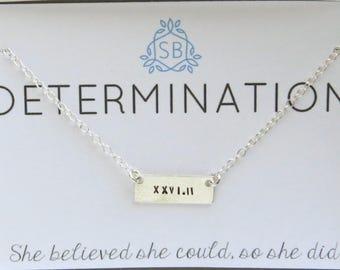 Runner Gift • Tiny Bar Necklace • Gift For Runner • Best Friend Gift • Marathon Jewelry • Running Jewelry • Marathon Training • D01