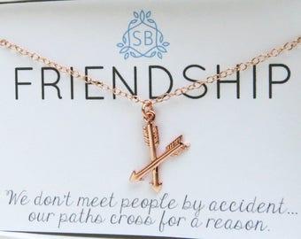Best Friend Gift • Crossed Arrow Necklace • BFF Gift • Friendship Jewelry • Rose Gold Arrows  Best Friend Jewelry • Gift for Bestie