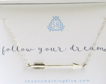 Arrow Necklace • Follow Your Dreams • Arrow Jewelry • Graduation Gift • Layering Necklace Layered Look • Inspiration • Silver Arrow Charm