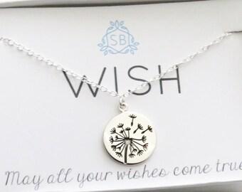 Freundschaft Halskette • Löwenzahn Charme • Wunsch Halskette • Graduierung Geschenk • Make A Wish • Löwenzahn Anhänger • Silber Löwenzahn • W01