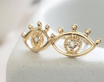 Luxe Evil Eye Studs • 14k Gold & Diamond Studs • Protection • Lucky Studs • Ear Stack • Dainty Evil Eye