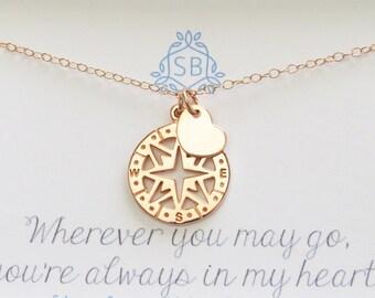 Am besten Freund Geschenk • Rose Gold Kompass & Herz • Reise Halskette • Sentimental • Reisenden Geschenk • Kompass Rose Charme • Bon Voyage Geschenk