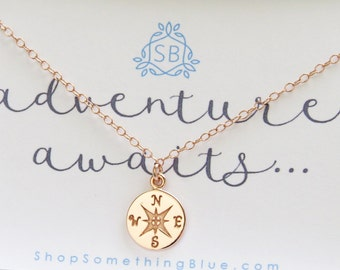Rose Gold Compass • Journey Necklace • Graduation Gift • Inspirational Gift • Traveler Gift • Adventure Awaits • North Star Charm