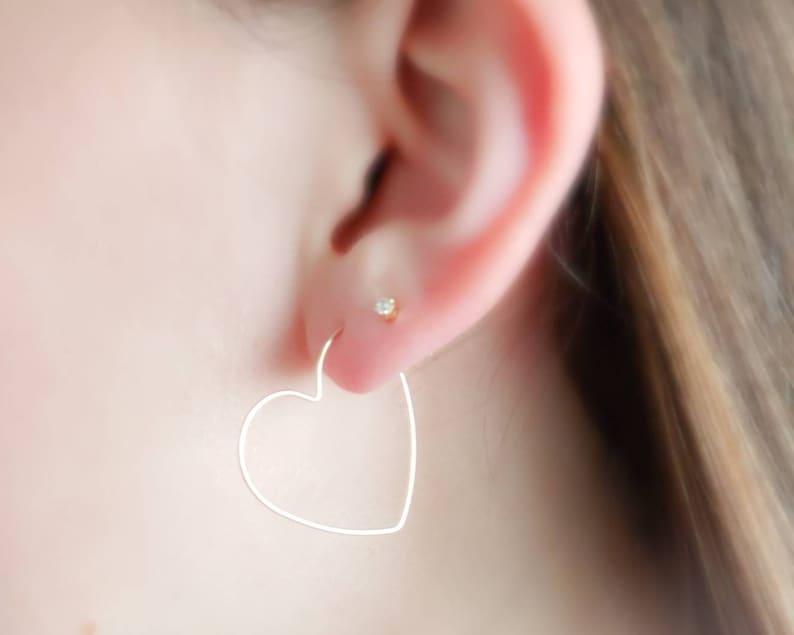 Heart Shaped Hoops  Delicate Hoop Earrings  Simple Silver or image 0
