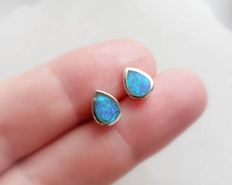Tear Drop Opal Studs  Elegant Opal Earrings  Modern & image 0