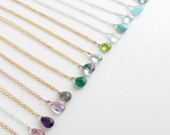 Birthday Gift • Tiny Gemstone Necklace • Layering Jewelry • Delicate Gemstone Drop • Bridesmaid Gift • Simple Gem Drop • Layering Necklace