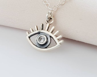 Evil Eye Necklace • Sterling Silver Evil Eye • Delicate Necklace • Good Luck • Protection • Nano Gem Accent