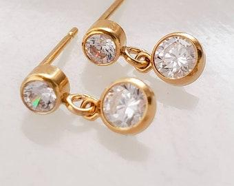 CZ Diamond Stud Drops • Tiny CZ Studs • Delicate CZ Drops • Dainty Gold Earrings • Modern Style • Bridesmaids Gift • Bridal Jewelry