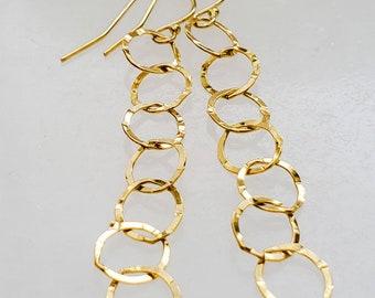 Long Chain Link Earrings • Lightweight Gold Link Earrings • Sparkly Long Earrings • Gift For Her • Bridesmaid Gift • Modern Style