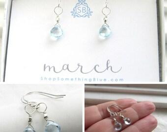March Birthday Gift • Aquamarine Earrings • Aqua Birthstone • Delicate Birthstone Earrings • Light Blue Briolettes • Gift For Her