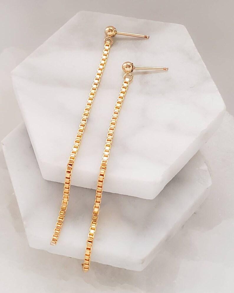 Long Chain Earrings \u2022 Slinky Box Chain Drops \u2022 Long Linear Earrings \u2022 Modern Style \u2022 Minimalist \u2022 Long Gold Earrings