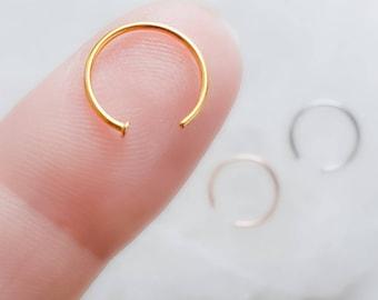 Delicate Nose Ring • Tiny Dot Hug Hoops • 20 Gauge • Thin Dot Hoops • Open Skinny Hoop • Modern Hoops • Dainty Hug Hoops • Surgical Steel