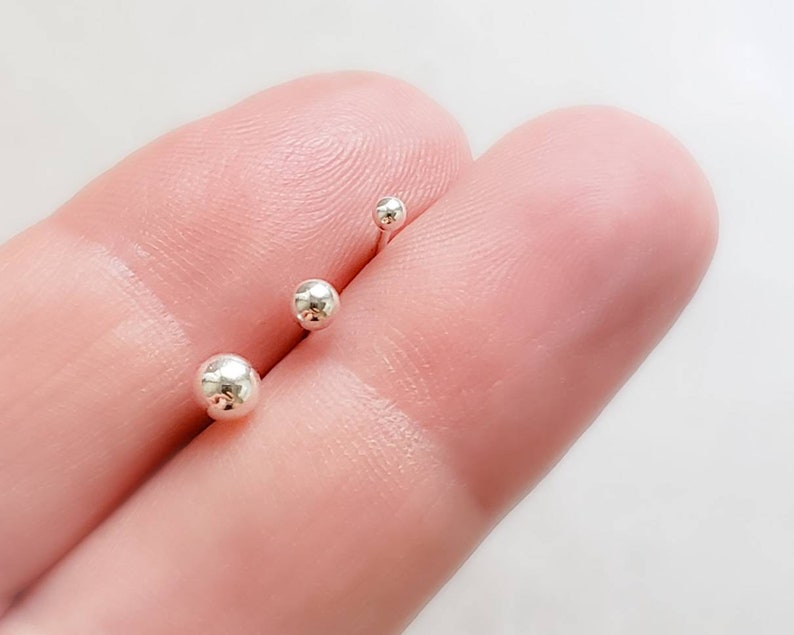 Tiny Ball Stud Set  Round Ball Studs  Little Earring Studs  image 0