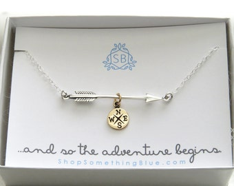 Graduation Gift • Arrow and Compass Necklace • High School Graduation • College Graduation • Class of 2018 • Student Gift • Gift for Her