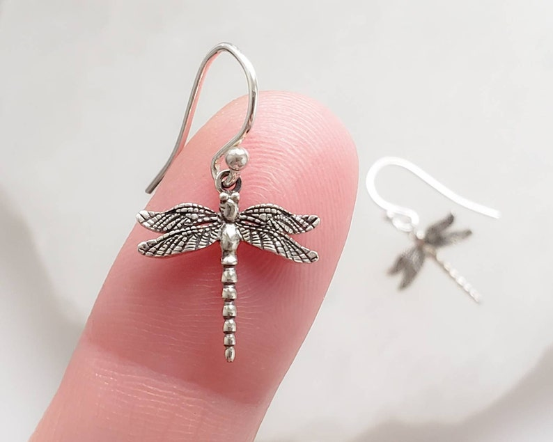Little Dragonfly Earrings  Silver Dragonflies  Insect image 0
