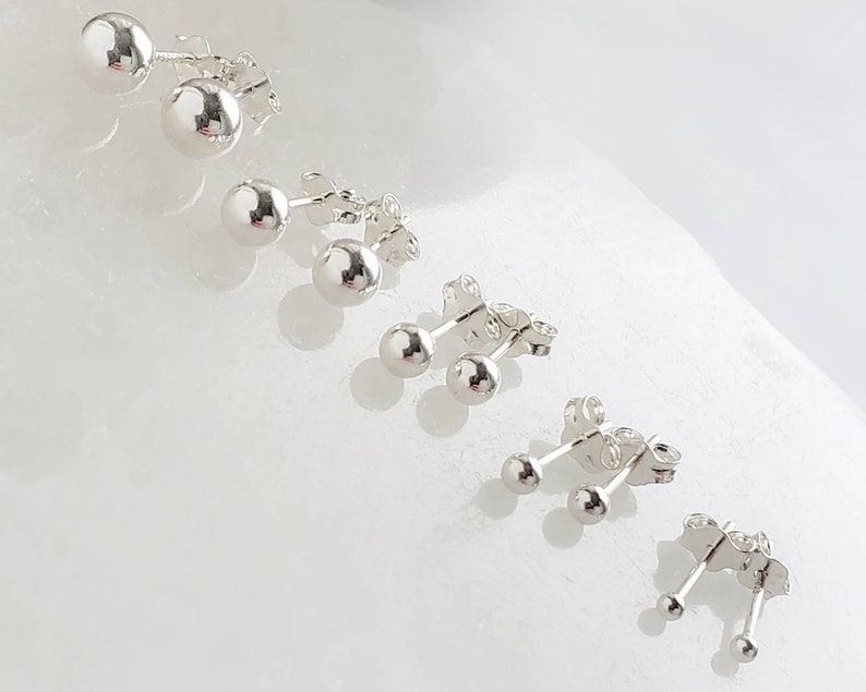 Tiny Ball Studs  Delicate Stud Earrings  Minimalist Earrings image 0