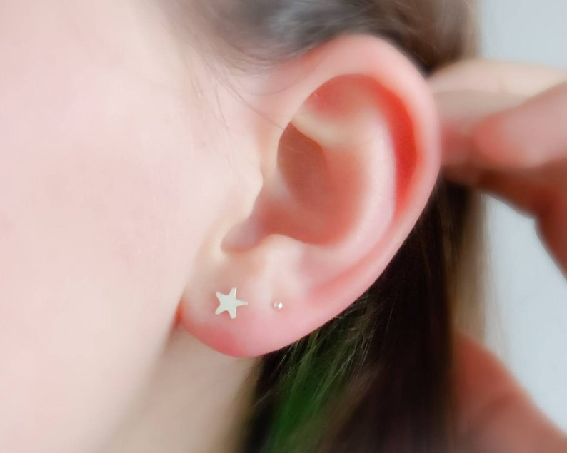 Little Star Studs  Tiny Earrings  Gold Star Studs  Delicate image 0