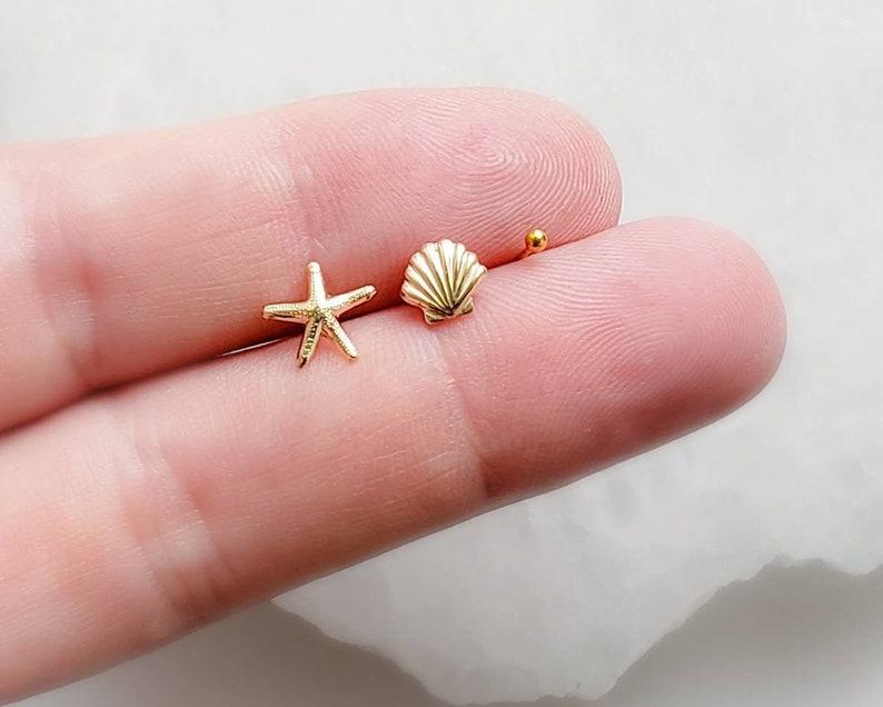 Seashell Stud Set  Starfish Stud  Shell Studs  Tiny Earring image 0