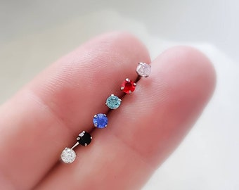 Set of 6 CZ Diamond Nose Bone Studs • 20g • Surgical Steel • 3mm Round CZ in White Black Blue Aqua Pink Red• Clear Retainer