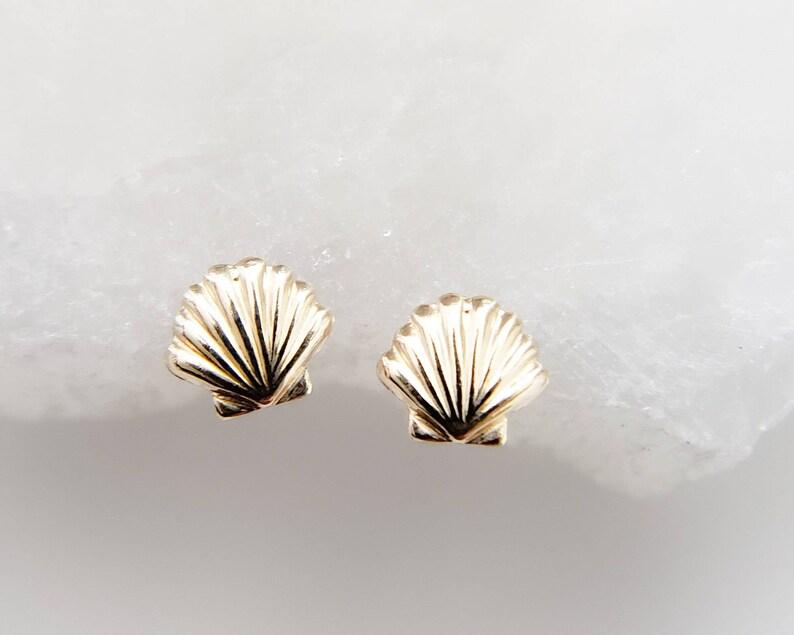 Gold Seashell Studs  Tiny Gold Earrings  Stud Earrings  image 0