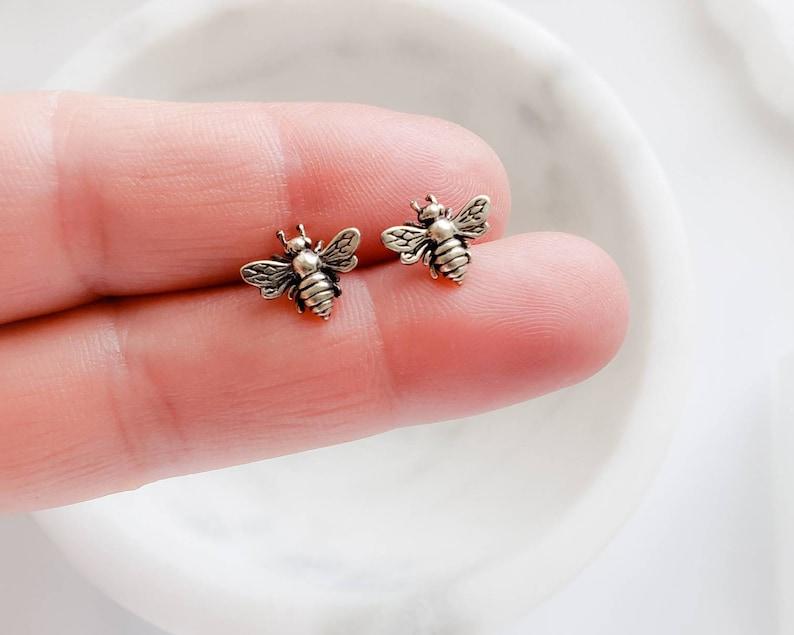 Honey Bee Stud Earrings  Bee Jewelry  Bumble Bee Studs  image 0