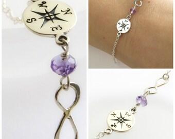 Travel Gift • Compass Bracelet • Infinity Charm • Birthstone Bracelet • Compass Rose • Charm Bracelet • Graduation Gift • Inspirational Gift