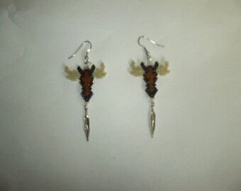 Sculpted Brick Stitch Moose Head Delica Seed Beading PDF E-File Earring Pattern-431