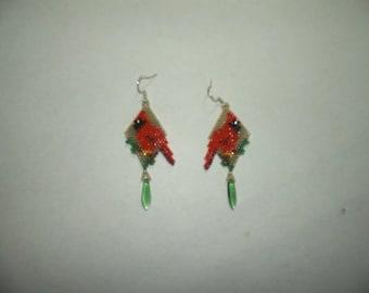Brick Stitch Cardinal Delica Seed Beading Dangle PDF E-File Earring Pattern-314