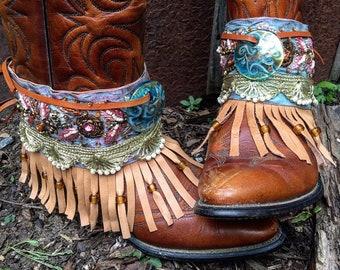 Bohemian Pandora Treasure Boot Wraps, Boot Jewelry, Genuine Leather, Wearable Fabric Art, Magical Boho Treasure, Beach Colors