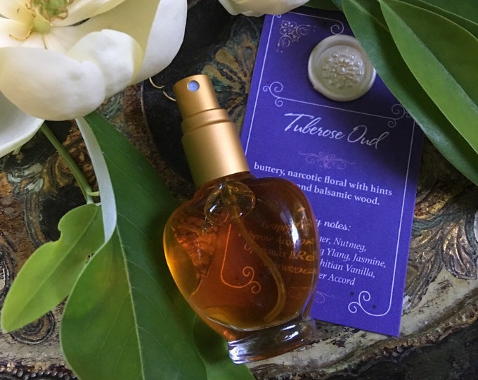 TUBEROSE OUD Botanical Eau de Parfum~ Buttery, Narcotic Floral with Citrus, Spice & Balsamic Wood, All Natural Fragrance