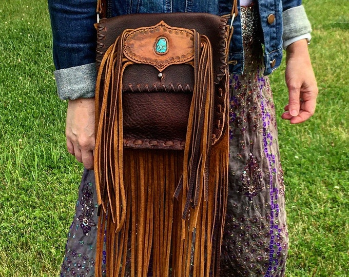 "Little Juniata Leather Fringe Purse with High Grade Turquoise, Country Western Crossbody Bag, Gypsy Cowgirl Tribal Hip Pouch, 8"" x 8"" x 2"""