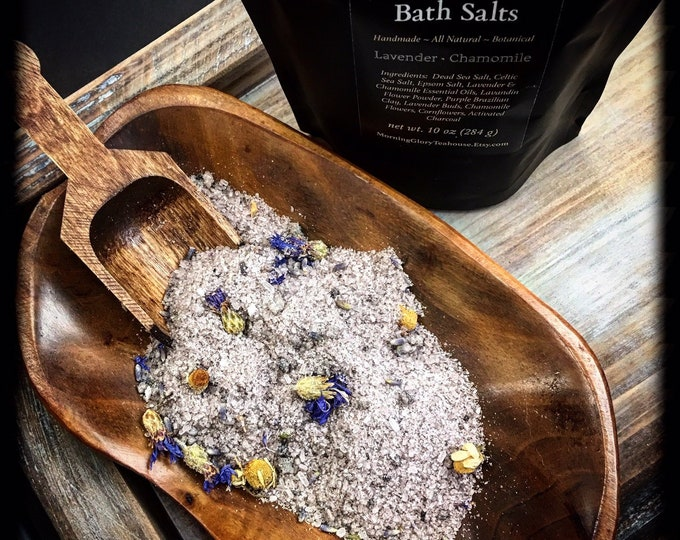 Relaxing Bath Salts / Lavender & Chamomile / All Natural Bath Soak / Botanical Foot Soak / Tranquil and Calming / 10 oz