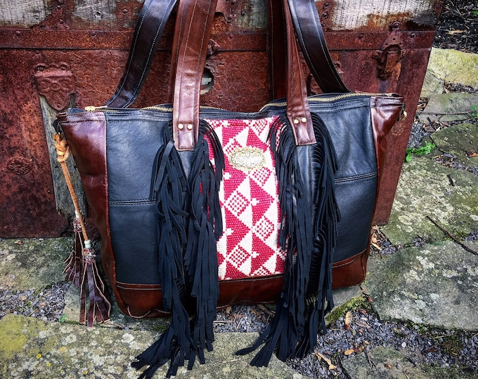 The Bohemian Leather Fringed Tribal Blanket Tote ~ Travel Bag, Premium Italian Leather with Removable Cross Body Strap ~ Ready to Ship